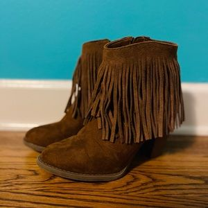 Brown Fringe Booties